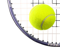 Tennis Ball and Racket isolated on white background. Royalty Free Stock Photo