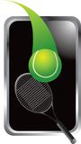 Tennis ball and racket in silver frame Stock Photo