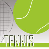 Tennis. Ball and racket on special gradient gray background Stock Photos