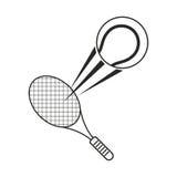 Tennis ball racket sport icon thin line Stock Image