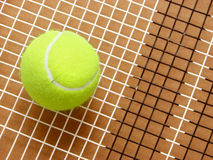 Tennis ball on racket strings. Close-up of tennis ball on racket strings grid Stock Photos