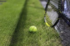 Tennis ball with racket on wet grass after raining Royalty Free Stock Images