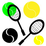 Tennis ball with racket on white background. Vector illustration Royalty Free Stock Photography