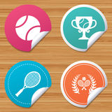 Tennis ball and rackets icons. Laurel wreath. Royalty Free Stock Image