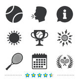 Tennis ball and rackets icons. Laurel wreath. Tennis ball and rackets icons. Winner cup sign. Sport laurel wreath winner award symbol. Information, go to web Stock Photo