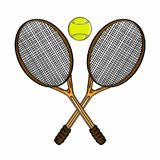 Tennis ball and rackets Stock Image