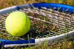 Tennis Ball and Racquet. Tenis ball and racquet on grass Royalty Free Stock Image