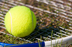 Tennis Ball and Racquet. On grass Stock Image