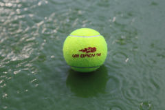 Tennis ball at rain delay during US Open 2014 at Arthur Ashe Stadium Stock Images