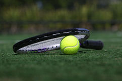 Tennis ball and raquet Royalty Free Stock Photos