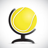 Tennis ball on an rotation atlas. illustration Royalty Free Stock Images