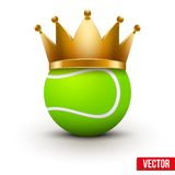 Tennis ball with royal crown Stock Photo