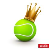 Tennis ball with royal crown of princess Stock Photo