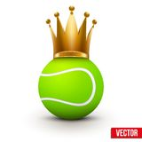 Tennis ball with royal crown of queen Stock Photos