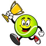 Tennis Ball Running with a Trophy. A vector illustration of a Tennis Ball Running with a Trophy Royalty Free Stock Images