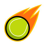Tennis ball sport comet fire tail flying logo. Isolated symbol badge label Royalty Free Stock Photo