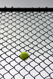 Tennis ball stuck in fence Royalty Free Stock Photo