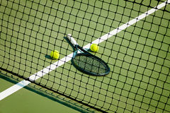 The tennis ball on a tennis court royalty free stock photography