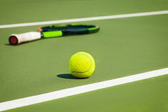 The tennis ball on a tennis court stock images