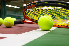 Tennis ball on a tennis court Royalty Free Stock Image