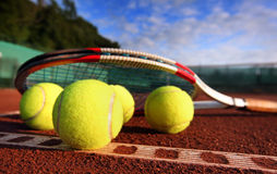 Tennis ball on a tennis court Stock Photography