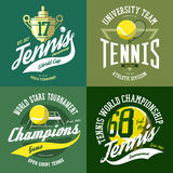 Tennis ball and trophy or cup, rack and court Stock Images