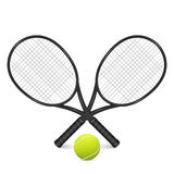Tennis ball and two crossed rackets. Royalty Free Stock Photos