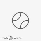 Tennis ball vector icon. Outline tennis ball vector icon on grey background Royalty Free Stock Images