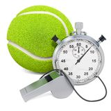 Tennis ball with whistle and stopwatch, 3D rendering. Isolated on white background royalty free illustration