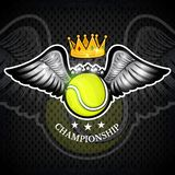Tennis ball with wings and crown. Vector sport logo for any team. And championship stock illustration