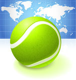 Tennis Ball with World Map Background Royalty Free Stock Photography