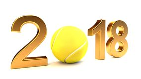 Tennis ball 2018. Tennis ball and 2018 year on a White Background Royalty Free Stock Images