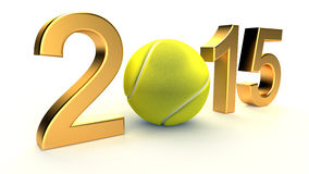 Tennis ball and 2015 year. On a White Background Stock Photography