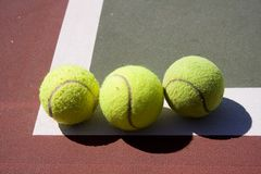 Tennis Balls. Three tennis balls in a line Stock Image