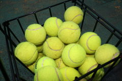 Tennis Balls. Balls for the Tennis in the Basket Stock Photo