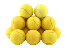 Tennis balls. Lot of yellow tennis balls isolated on white royalty free stock photos
