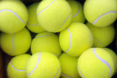 Tennis balls. Group of yellow tennis balls in a box Royalty Free Stock Photos