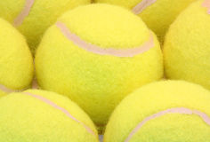 Tennis balls. A group of tennis balls captured with a macro lens stock image