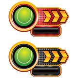 Tennis balls on arrow banners Stock Image