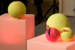 Tennis balls as souvenirs and gifts for fans. stock photos