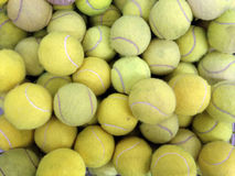 Tennis balls in basket Royalty Free Stock Photography
