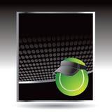 Tennis balls on black halftone banner Stock Photos