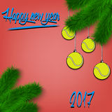 Tennis balls on Christmas tree branch Royalty Free Stock Image