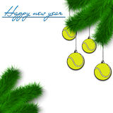 Tennis balls on Christmas tree branch Royalty Free Stock Images