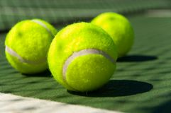 Tennis balls on Court Stock Images