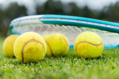 Tennis balls at the court Royalty Free Stock Image