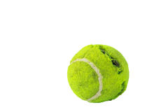Tennis balls by dog bites on white background Stock Photo