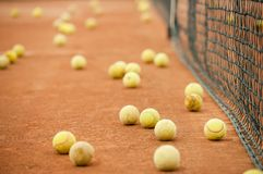 Tennis balls on a field. Many yellow tennis balls on a slag field near the net Royalty Free Stock Photography