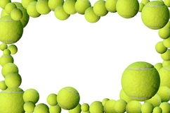 Tennis balls frame. Green yellow tennis balls and red heart Stock Image
