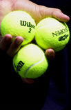 Tennis Balls. In the hands of a ball boy at the US Open Stock Photography